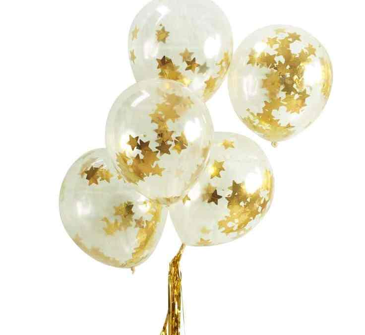Sur Pinterest Pack Of Five Gold Star Confetti Clear Party Balloons