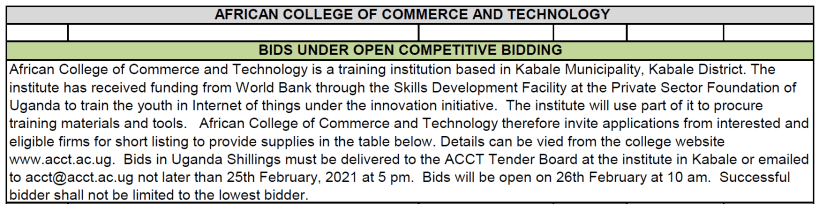 Bids for Internet of Things training Tools and Materials