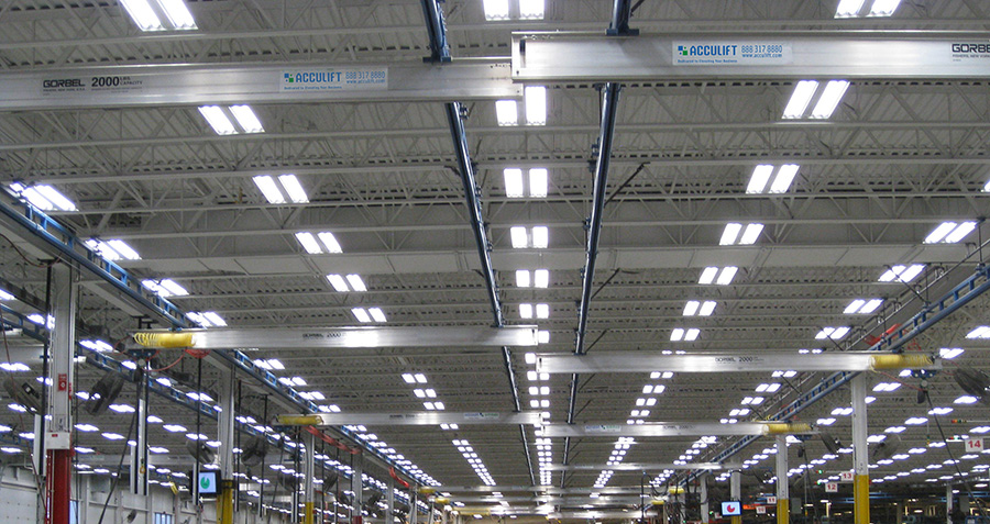 ceiling hung workstation crane system facility wide