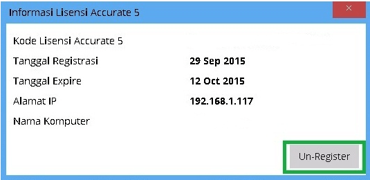 Unregister License di ACCURATE 5