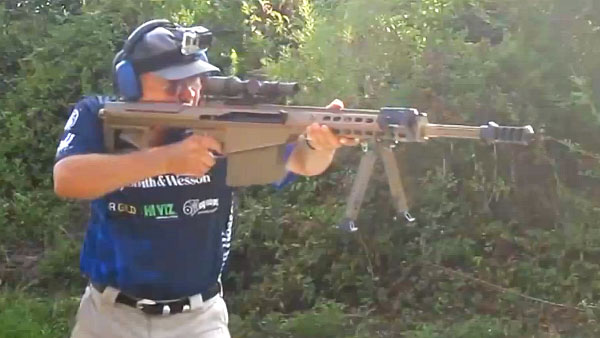 Jerry Miculek 50 BMG offshand speed shooting record
