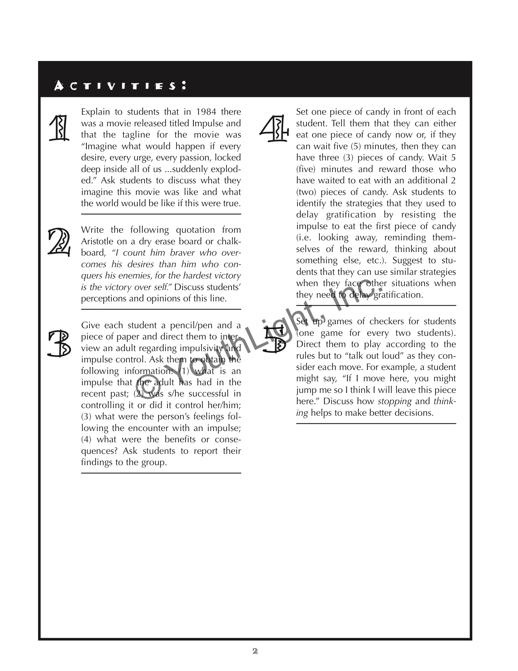 Impulse Control Activities Amp Worksheets For Middle School