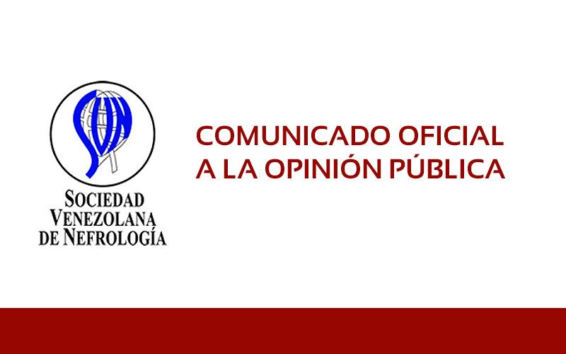 Comunicado Sociedad Venezolana de Nefrología