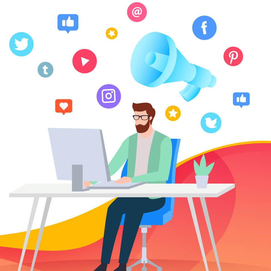 social media advertising vector image