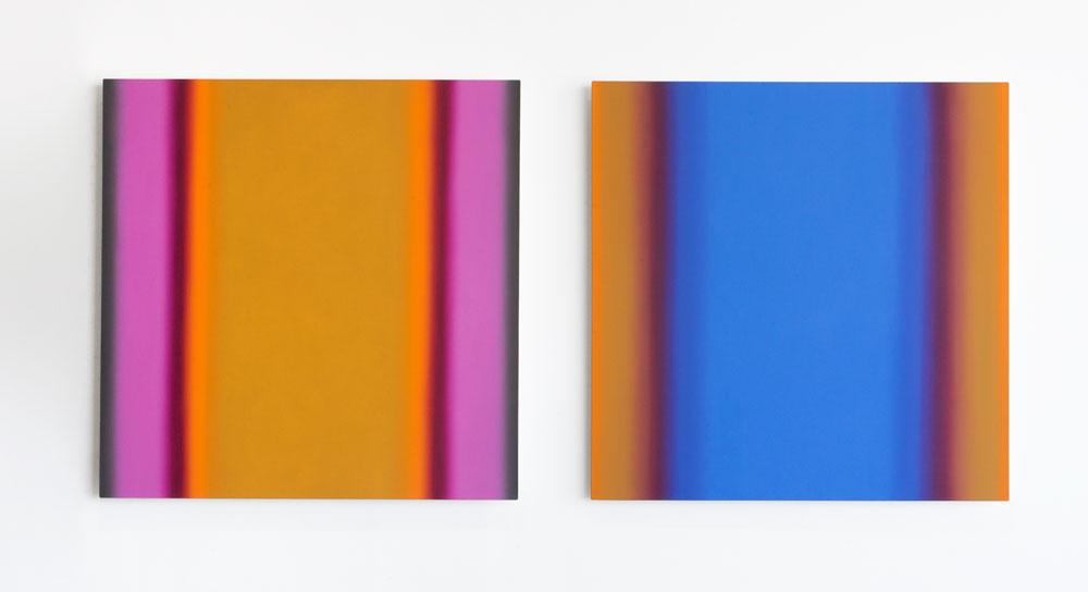 Matter of Light 1-S6060 (Red Green/ Magenta Ochre), Matter of Light 7-S6060 (Blue Orange/ Blue Ochre), Diptych