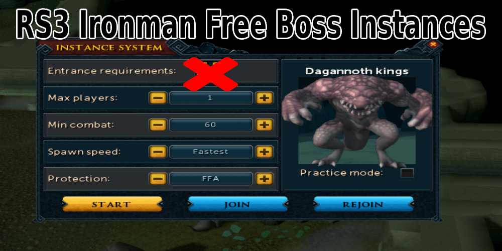 RS3 Ironman How to get free boss instances