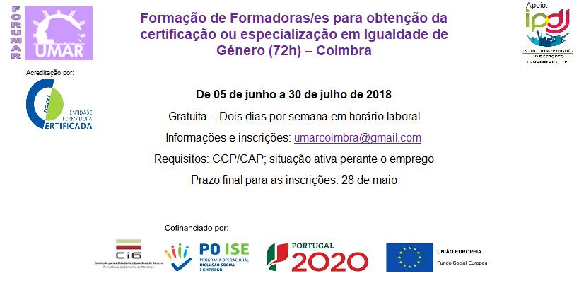 Formação de Formadoras/es em Igualdade de Género – 72h | UMAR Coimbra