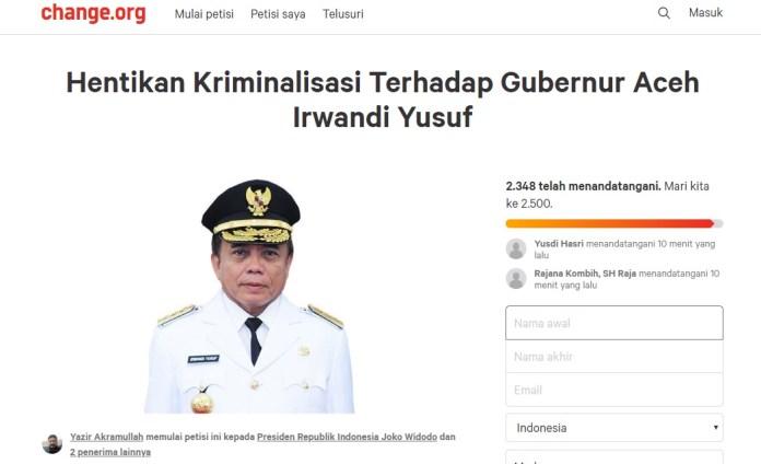 Penangkapan Irwandi Diduga Bermuatan Politis, Warga Aceh Bikin Petisi Online