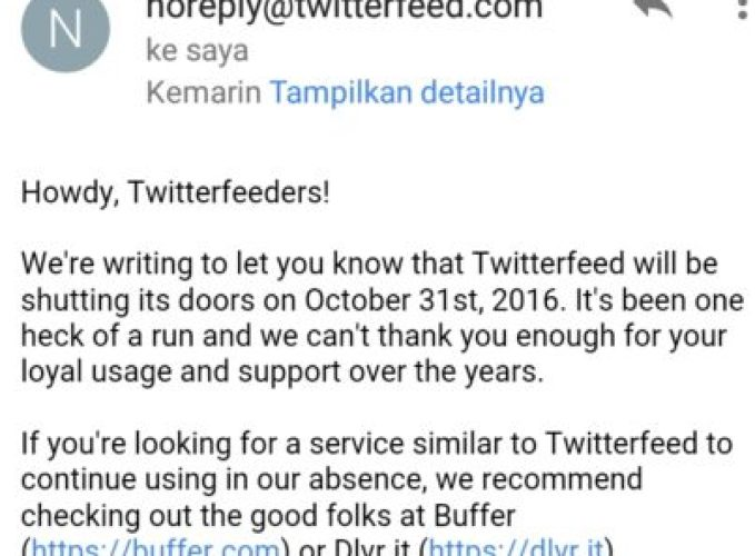 Twitterfeed Hentikan Layanan Berbagi Blog