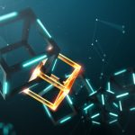 Blockchain technology with abstract background – 3D Rendering