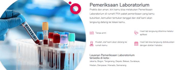 pemeriksaan laboratorium dengan halodoc