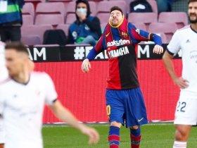 Bintang Barcelona, Lionel Messi merayakan gol ke gawang Osasuna, Minggu (29/11/2020) © AP Photo