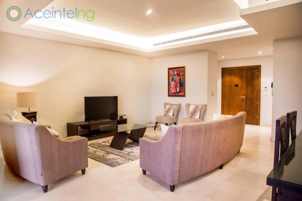 3 bedroom apartment for shortlet in eko atlantic - eko pearl - livingroom