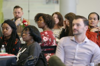 Students listen during the Acel Moore High School Journalism Workshop awards luncheon at the Philadelphia Media Network office in Center City on Saturday, April 7, 2018. The luncheon honored the 21 students who participated in this year's workshop. TIM TAI / Staff Photographer