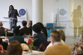 Keynote speaker and attorney Michael Coard speaks during the Acel Moore High School Journalism Workshop awards luncheon at the Philadelphia Media Network office in Center City on Saturday, April 7, 2018. The luncheon honored the 21 students who participated in this year's workshop. TIM TAI / Staff Photographer