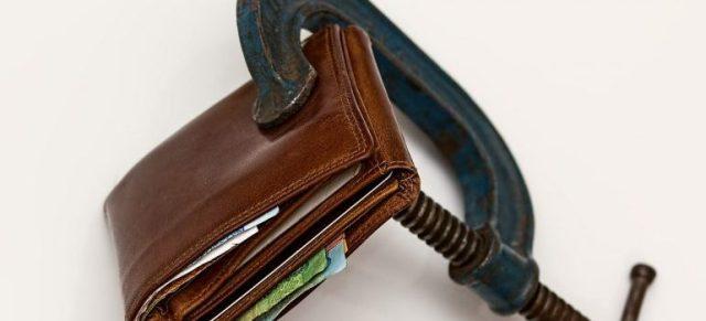 a wallet under pressure