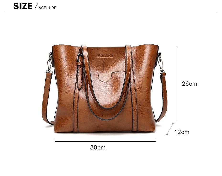 ACELURE Oil Wax Women's Faux Leather Handbag