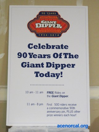 SCBB Giant Dipper 90th Anniversary sign