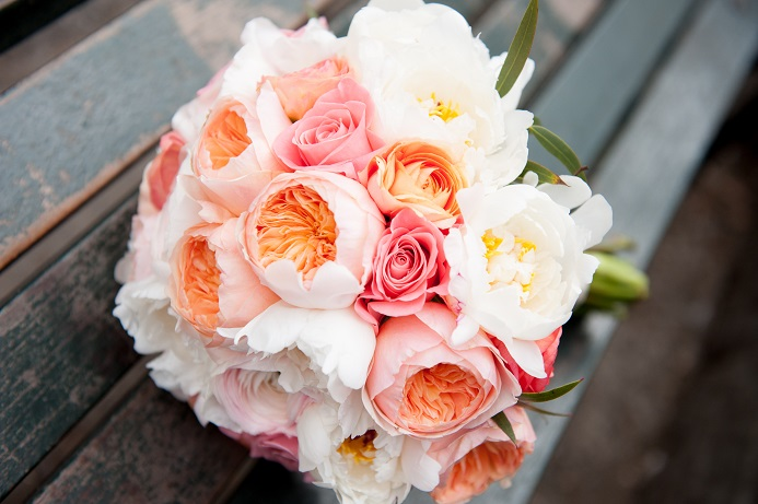 peach coral white bridal bouquet - Garden Rose