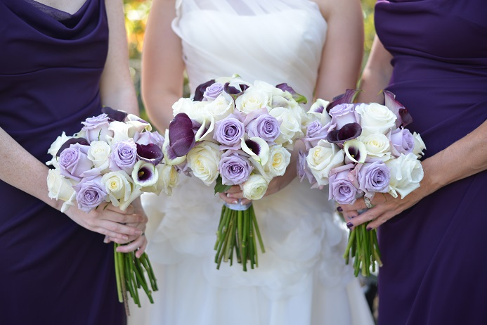 purple and white wedding flowers a central park wedding get