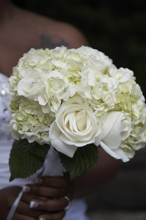 white hydrangea bridal bouquet - Garden Rose And Hydrangea Bouquet