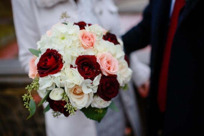 Wedding flower ideas for outdoor weddings fall bridal bouquet in purple and burgundy hues dahlias virburnum berry scabiosa purple stock and eucalyptus mightylinksfo
