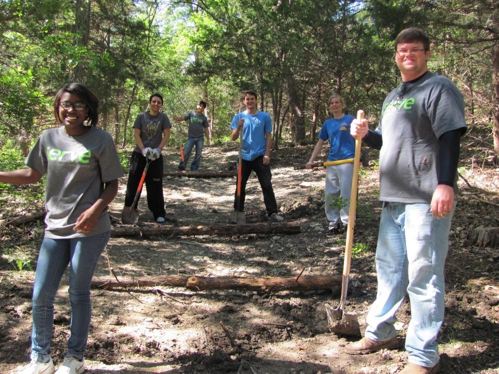 GreenServe Volunteers completing trail maintenance at Binkley Bike Trail.