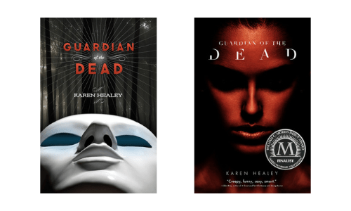 Hardcover and paperback cover designs of Guardian of the Dead by Karen Healey