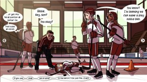 "Panel from ""Check, Please!"" The boys are at practice. From left to right: Holster is standing, doing a facepalm and saying ""... or get into fetal position at center ice. Thats also an option."" The coach is leaning down to say to Bitty, ""Bittle. Hey, son? You okay?"" Bitty's lying in the fetal position on his side saying, ""If you just... slide... me on down.. to the bench I'll be just fine, Coach."" Jack is standing on the other side of Bitty with his think face on. He's saying, ""You know? I'm thinking we can make a play outta this."""