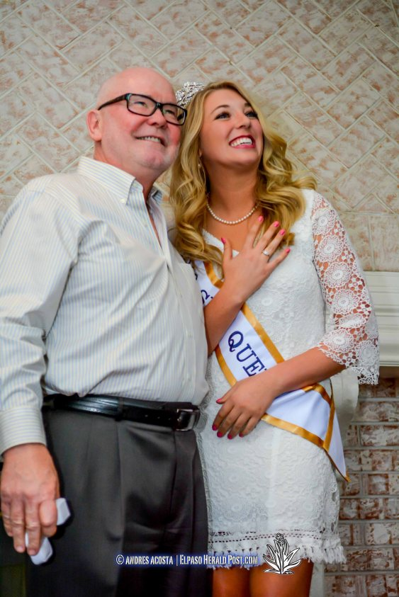 Randy Johnson presenting a commemorative ring to Sun Queen Katherine Carroll-Miller at the 2016 Sun Court Coronation at the El Paso Country Club
