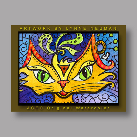 Signed ACEO *Whimsical Cat #124* by Lynne Neuman