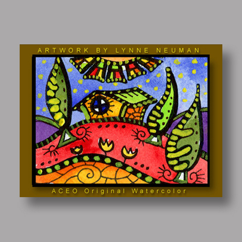 Signed ACEO *Whimsical House #175* by Lynne Neuman