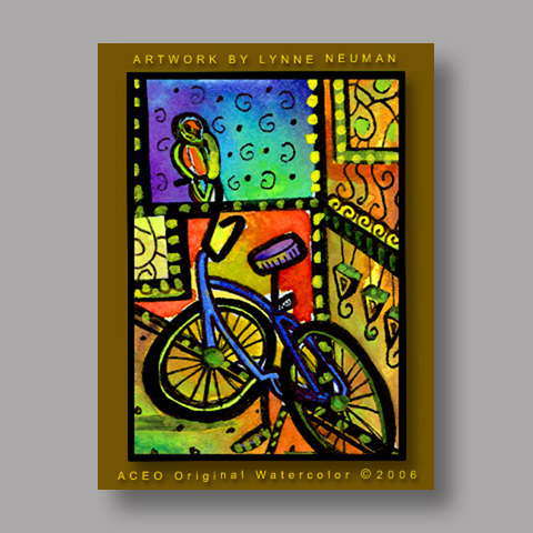 Signed ACEO *Bike and Parrot #244* by Lynne Neuman
