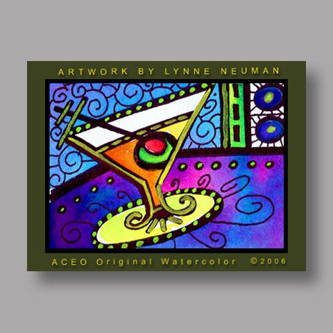 Signed ACEO *Martini Glass #321* by Lynne Neuman