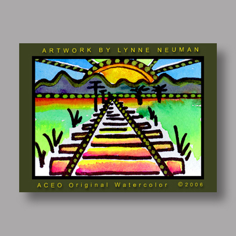 Signed ACEO Print *Railroad Tracks #345** by Lynne Neuman