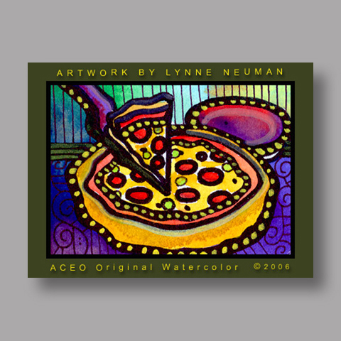 Signed ACEO Print *Pepperoni Pan Pizza #424* by Lynne Neuman