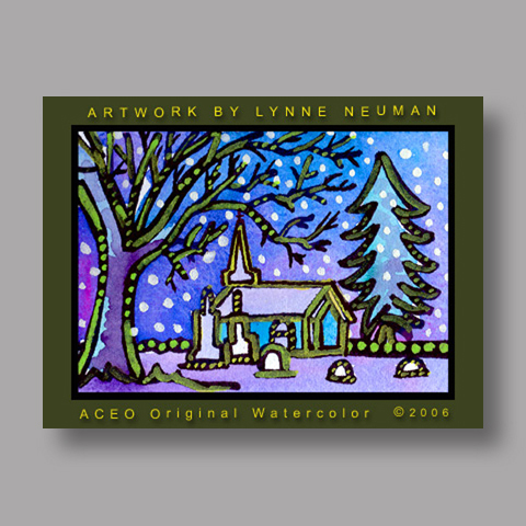 Signed ACEO *Winter Church #510* by Lynne Neuman