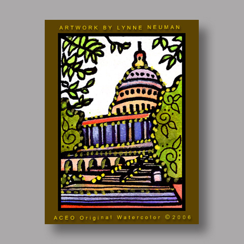 Signed ACEO Print *US Capitol Washington DC #532* by Lynne Neuman