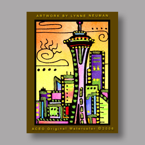 Signed ACEO Print *Seattle Skyline #566* by Lynne Neuman