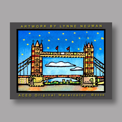 Signed ACEO *Bridge London England #615* by Lynne Neuman
