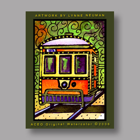 Signed ACEO Print *New Orleans Streetcar #645* by Lynne Neuman