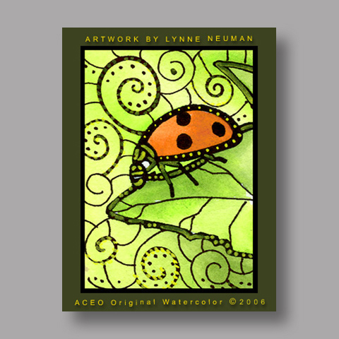 Signed ACEO *Red Ladybug #670* by Lynne Neuman