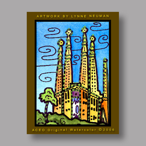 Signed ACEO Print *Barcelona Spain #700* by Lynne Neuman