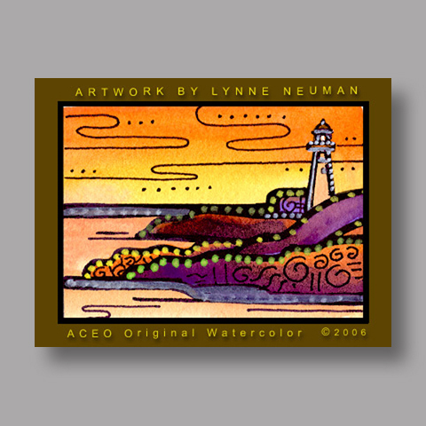 Signed ACEO Print *Lighthouse Sunset #711* by Lynne Neuman
