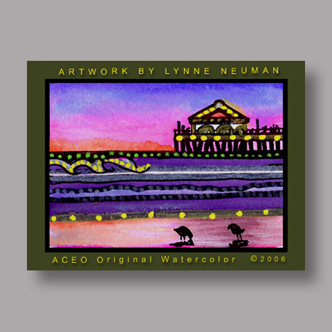 Signed ACEO Print *Ocean Pier #713* by Lynne Neuman