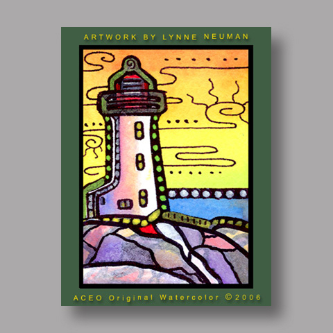 Signed ACEO Print *Maine Lighthouse #730* by Lynne Neuman