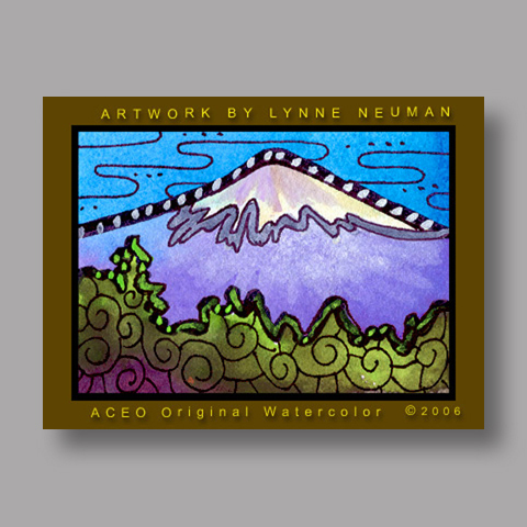 Signed ACEO *Mount Fuji Japan #757* by Lynne Neuman
