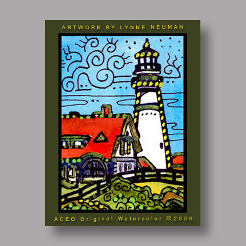 Signed ACEO Print *Lighthouse #803* by Lynne Neuman