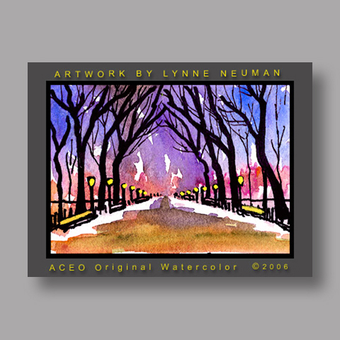 Signed ACEO Print *Central Park Winter New York City #815* by Lynne Neuman