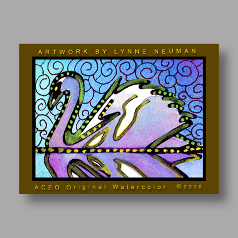 Signed ACEO *White Swan #820* by Lynne Neuman